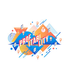 Profitability isometric text design on abstract vector