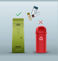 proper battery disposal vector image
