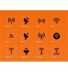 Radio Tower icons on orange background vector
