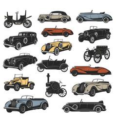 Rarity antique cars vintage vehicles vector