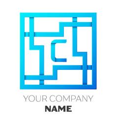 Realistic letter c logo in colorful square maze vector