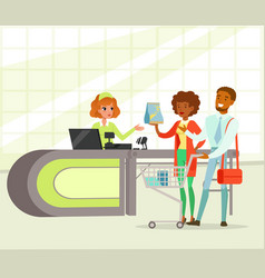 retail woman cashier and young couple with vector image