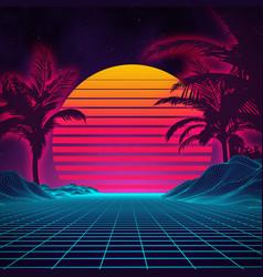 Retro background futuristic landscape 1980s style vector