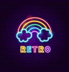 Retro rainbow neon label vector