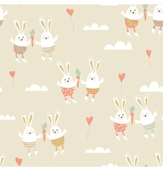 romantic seamless pattern with cute rabbits in vector image