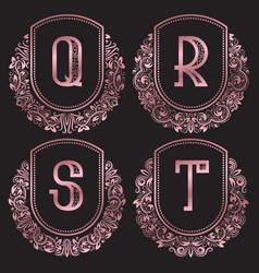 rose gold monograms set in antique style vintage vector image