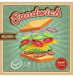 Salami sandwich poster vector image