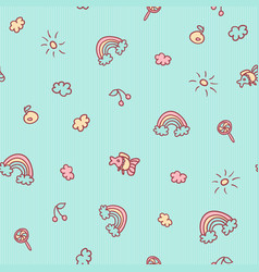 Seamless cartoon pattern fish fruits vector