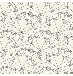 Seamless leaves line pattern tile background vector