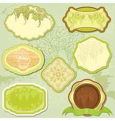 Set for wine labels or menu design vector image