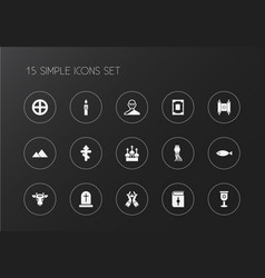 Set of 15 editable dyne icons includes symbols vector