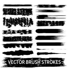 Set of 17 artistic brush strokes vector image