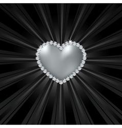 Shiny crystal love heart on black line vector