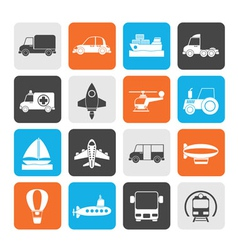 Silhouette Different kind of transportation icons vector image