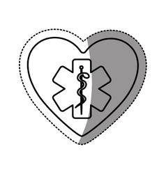 Silhouette sticker in heart shape with cross vector