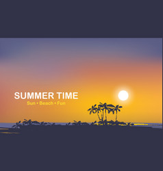 summer tropical seascape with palms at sunset vector image