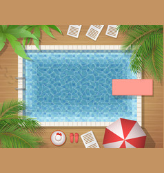 Swimming pool and palm top view vector
