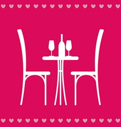 Table in the restaurant for two vector image