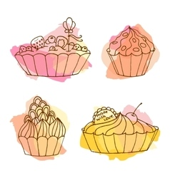 Tarts Doodle cakes with vector image