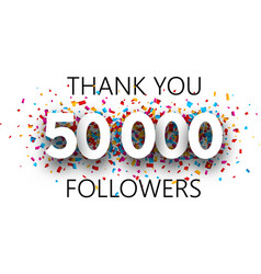 Thank you 50000 followers poster with colorful vector