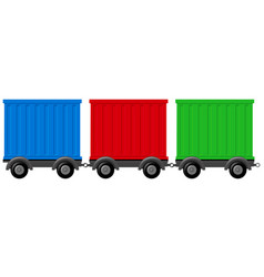 Three different colors of wagons vector