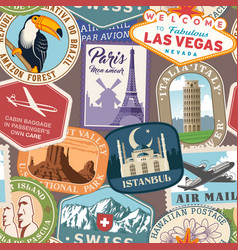 Travel stickers seamless pattern vector