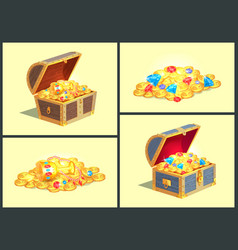 Treasures in wooden chests vector