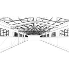Warehouse sketch rendering of 3d vector