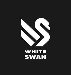 white swan linear logo simbol vector image