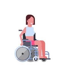 Woman sit on wheelchair on white background vector