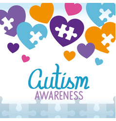 World autism day with hearts vector