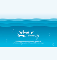 World ocean day background flat vector