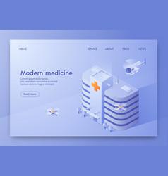 written modern medicine isometric vector image