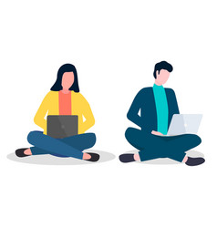 young people girl and man sitting on floor with vector image