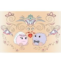 Bride and groom wedding card ornaments vector