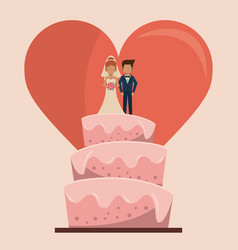 colorful background of wedding cake with couple of vector image