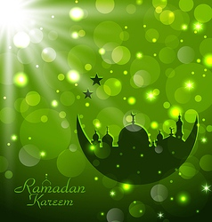 Islamic glow card for Ramadan Kareem vector image vector image