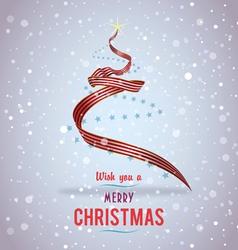US Christmas tree ribbon vector image vector image