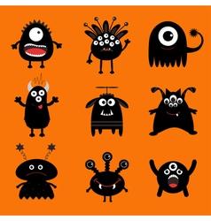 Black monster big set Cute cartoon scary vector image vector image