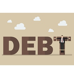 Businessman crucified on debt vector image vector image