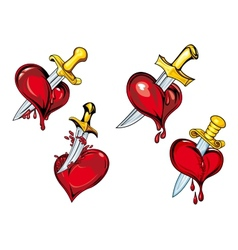 Cartoon heart with dagger tattoo design elements vector image vector image