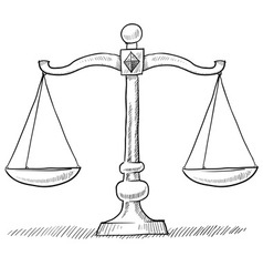 doodle scales justice vector image vector image