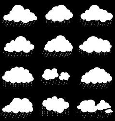 set cloud with rain smoke element decor isolated vector image