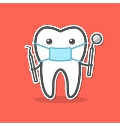 Cartoon doctor tooth in mask vector image