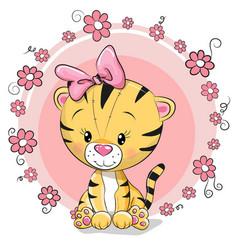 greeting card cute cartoon tiger vector image vector image