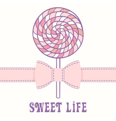 Pink lollipop with ribbon vector image
