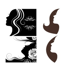 set of beautiful silhouettes of women vector image vector image