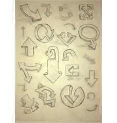 Set Of Hand Drawn Doodle Arrows vector image
