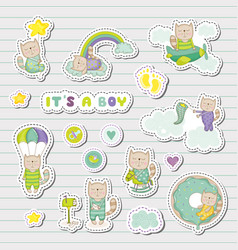 baby boy stickers patches for baby shower party vector image