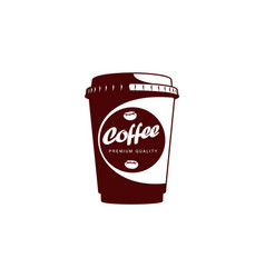 disposable papper cup of coffee flat icon vector image